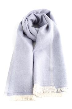 Large Herringbone Wool Scarf - Light Blue