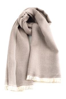 Large Herringbone Wool Scarf - Brown