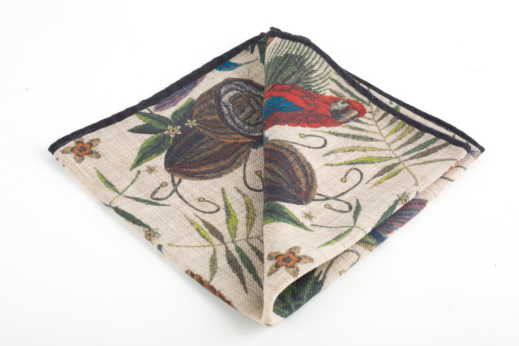 Parrot Wool Pocket Square - Off White