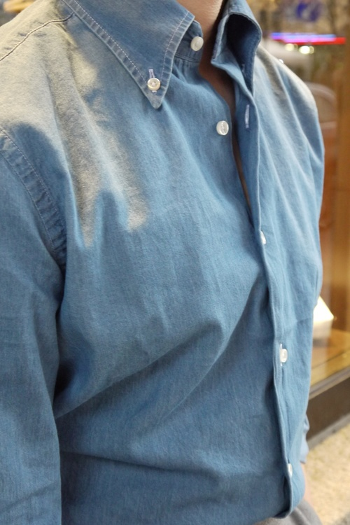 Solid Denim Shirt - Button Down - Light Navy Blue