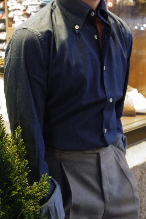 Solid Denim Shirt - Button Down - Mid Navy Blue