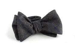 Plaid Wool Bow Tie - Dark Grey/Navy Blue