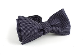 Micro Wool Bow Tie - Dark Grey/Navy Blue