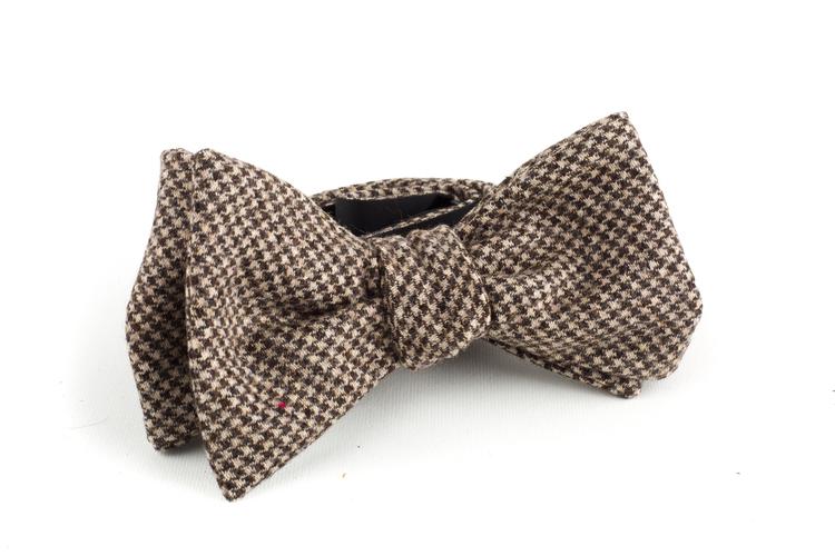 Dogtooth Wool Bow Tie - Brown/Beige