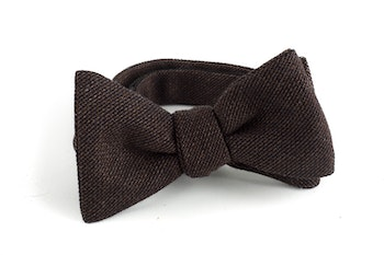 Solid Wool Bow Tie - Brown