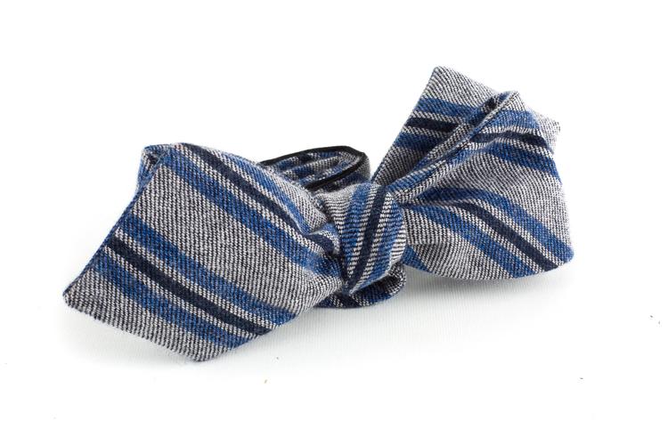Regimental Cashmere Bow Tie - Light Grey/Blue