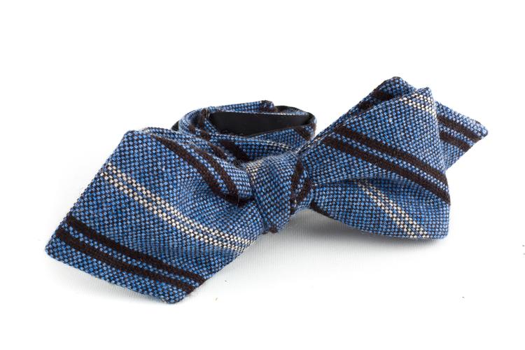 Regimental Cashmere Bow Tie - Light Blue/Brown