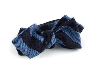 Regimental Cashmere Bow Tie - Navy Blue/Light Blue