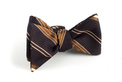Regimental Grenadine Bow Tie - Brown/Beige