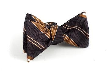 Regimental Grenadine Bow Tie - Brown/Beige
