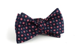 Floral Grenadine Bow Tie - Navy Blue/Red