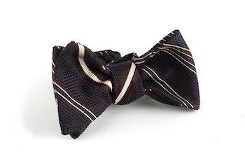 Regimental Grenadine Bow Tie - Brown/Creme