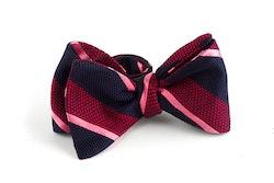 Regimental Grenadine Bow Tie - Navy Blue/Burgundy/Pink