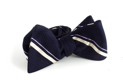 Regimental Grenadine Bow Tie - Navy Blue/White/Purple