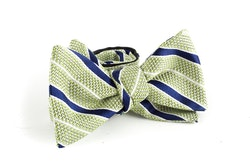 Regimental Grenadine Bow Tie - Green/Navy Blue