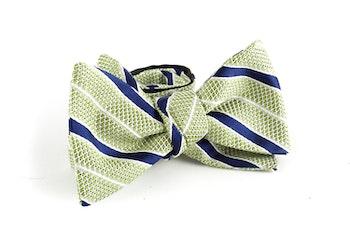 Regimental Grenadine Bow Tie - Green/Navy Blue