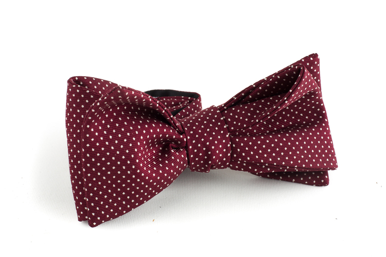Pindot Silk Bow Tie - Burgundy/White
