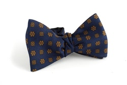 Floral Silk Bow Tie - Navy Blue/Rust
