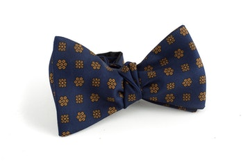 Floral Silk Bow Tie - Navy Blue/Rust