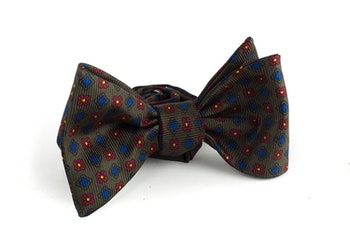 Floral Silk Bow Tie - Green/Red/Blue