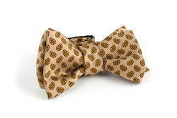 Paisley Silk Bow Tie - Beige/Orange