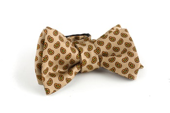 Paisley Silk Bow Tie - Beige/Orange