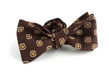 Floral Silk Bow Tie - Brown/Orange