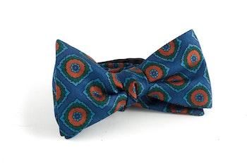 Medallion Silk Bow Tie - Steel Blue/Orange