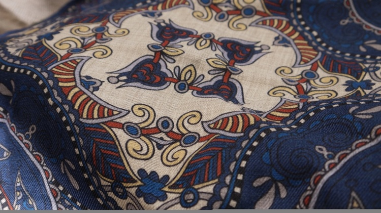 Oriental Wool Pocket Square - Navy Blue/Beige