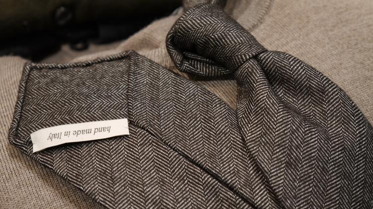 Herringbone Wool Untipped Tie - Brown