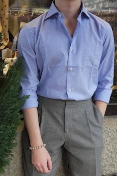 Dogtooth Twill Shirt - Cutaway - Mid Blue/White