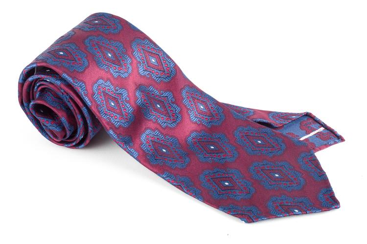 Medallion Silk Tie - Untipped - Burgundy/Navy Blue