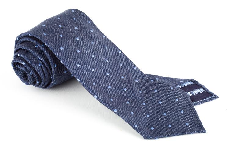Polka Dot Textured Silk Tie - Untipped - Navy Blue