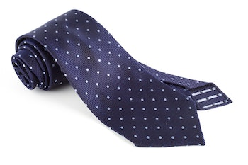 Polka Dot Silk Tie - Untipped - Navy Blue/Light Blue
