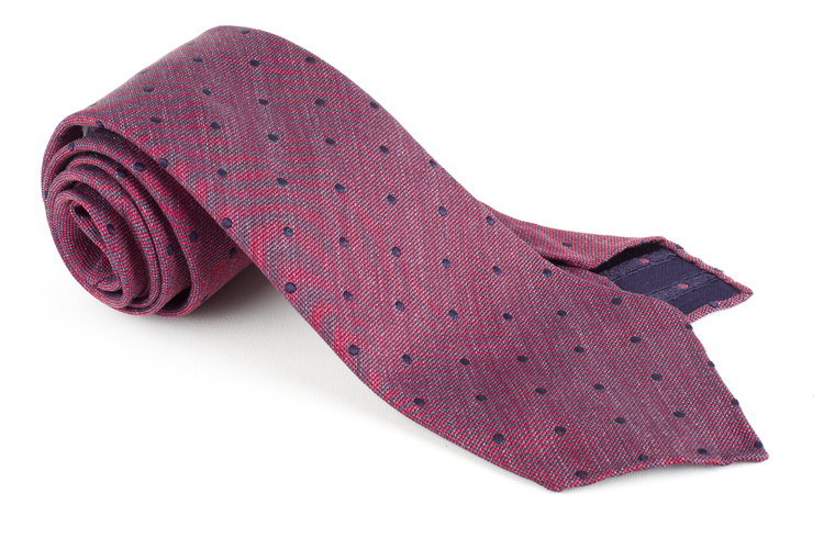 Polka Dot Silk Tie - Untipped - Burgundy/Navy Blue