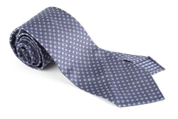 Circle Silk Tie - Untipped - Grey/Navy Blue/White