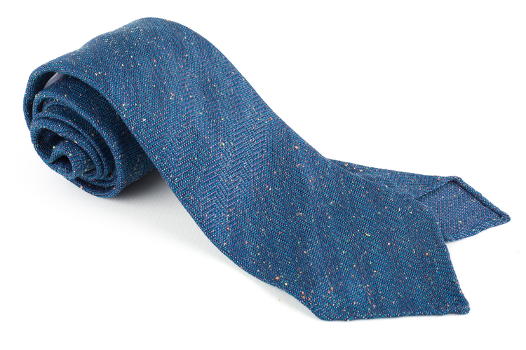 Solid Donegal Silk Tie - Untipped - Navy Blue