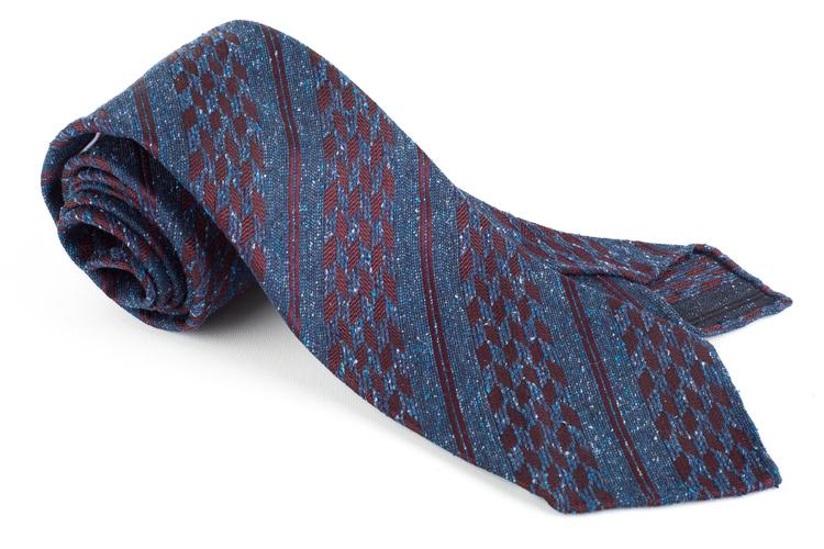 Regimental Silk/Wool Tie - Untipped - Navy Blue/Burgundy