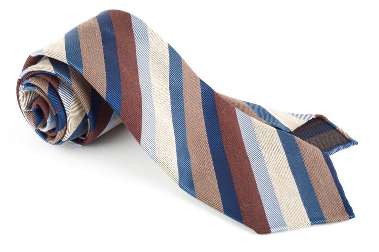Striped Silk Tie - Untipped - Brow/Beige/Light Blue