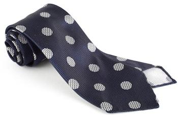 Big Dot Silk Tie - Untipped - Navy Blue/White