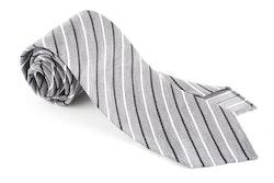 Thin Stripe Silk Tie - Untipped - Grey