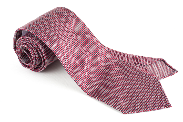 Micro Square Silk Tie - Untipped - Red/Blue