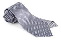 Circle Silk Tie - Untipped - Grey/White