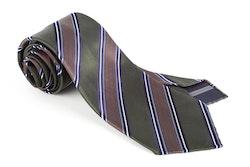 Regimental Silk Tie - Untipped - Green/Brown/Light Blue