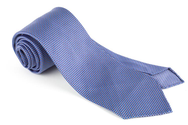 Micro Square Silk Tie - Untipped - Blue