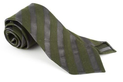 Regimental Silk Tie - Untipped - Olive Green