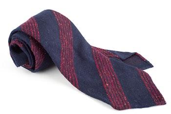 Regimental Wool/Silk Shantung Tie - Untipped - Navy Blue/Rust