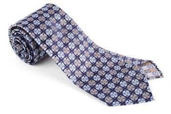 Medallion Silk Tie - Untipped - Navy Blue/Orange