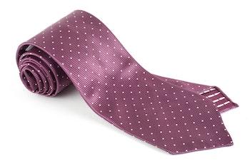 Pindot Silk Tie - Untipped - Purple/White