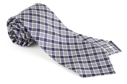 Check Silk Tie - Untipped - Navy Blue/White